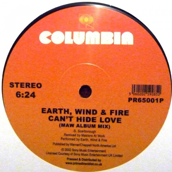 EARTH WIND & FIRE - Fantasy Shelter Dj Mix, Can't Hide Love Maw Album Remix (12'')
